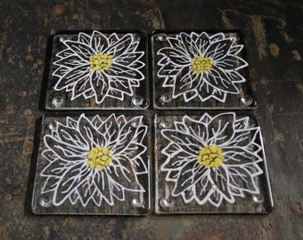 Kiln Fused glass coasters. 'Daisy'  Large White flowers with a yellow center. Choose a clear art glass or recycled Eco-friendly glass base.