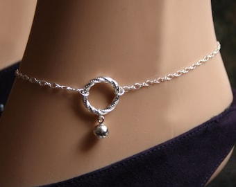 Slave bell. PERMANENTLY LOCKING Fancy 'O' ring Slave Ankle Infinity Chain Bracelet. BDSM Anklet. Sterling silver. Tiny little bell. Eternity
