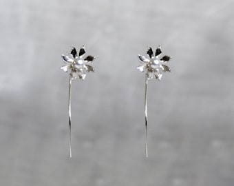 Handmade 'Ma Petite Fleur' earrings. Traditionally hand made sterling silver flower earrings with silver grey pearls, stud style with stem