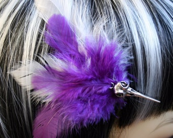 Exclusive 'Baby Bird Skull' Hair grip / fascinator with Purple and white feathers.