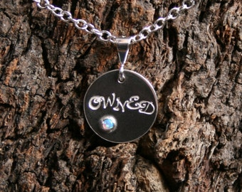 OWNED ~ Personalized Day Collar / Slave Necklace. Sterling silver & Gemstone. Choose stone. Disc day collar. Can be personalized on reverse.