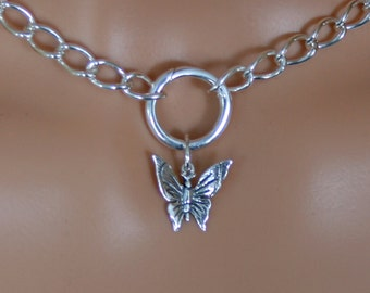 Heavyweight PERMANENTLY LOCKING Butterfly dropper O Ring Day Collar / Slave Necklace. Sterling silver Story of 'O' collar. Choker / necklace