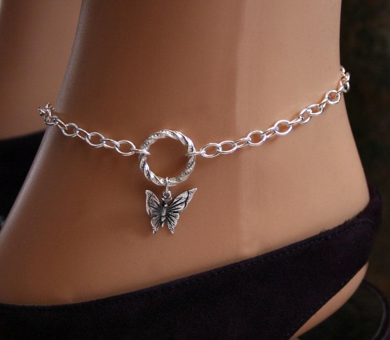 Infinity  Eternity  Story of /'O/'  Captive ring Butterfly dropper FANCY /'O/' ring Slave Ankle Chain Bracelet BDSM Anklet Sterling silver