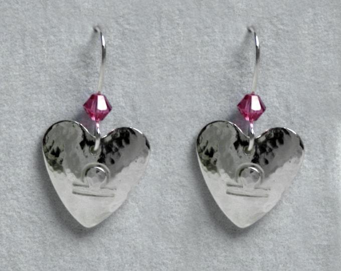 Handmade 'Birthday' earrings. October, Tourmaline, Birthstone, Birth sign, Zodiac, Libra. Sterling silver & Swarovski crystal heart earrings