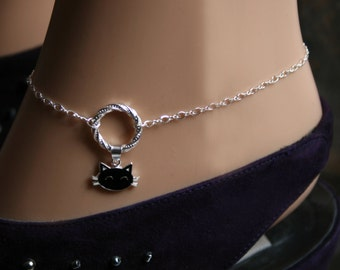 Sir's Kitten. Black Cat Fancy 'O' ring Slave Ankle Infinity Chain Bracelet Sterling silver BDSM Anklet. Infinity / Eternity / Captive ring
