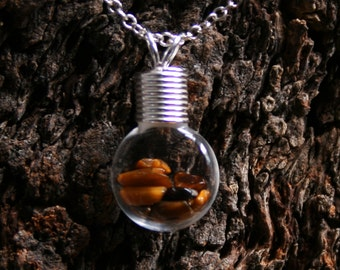 Healing Wishes - Tiger's Eye ~ 'Make a Wish' Pendant ~ Hand blown glass & sterling silver pendant with Tiger's Eye. Healing stones bottle