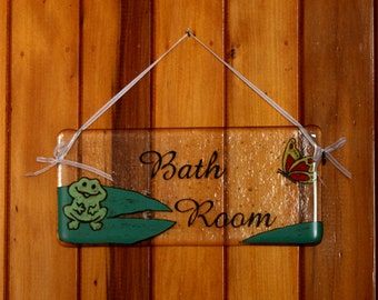 Bath Room, door plaque/  wall hanger/ sign. Cute, hand painted, fused glass - can be personalized to your colour scheme or other rooms etc