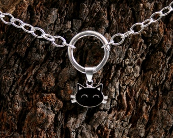 Sir's Kitten. PERMANENTLY LOCKING Black Cat discrete O ring Sterling silver Day Collar / Slave Necklace / choker. Infinity / Eternity ring.