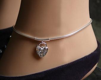 Discrete PERMANENTLY LOCKING Slave Ankle Chain Bracelet. Plain or fancy padlock BDSM Anklet. Sterling silver. Choose plain or fancy padlock.