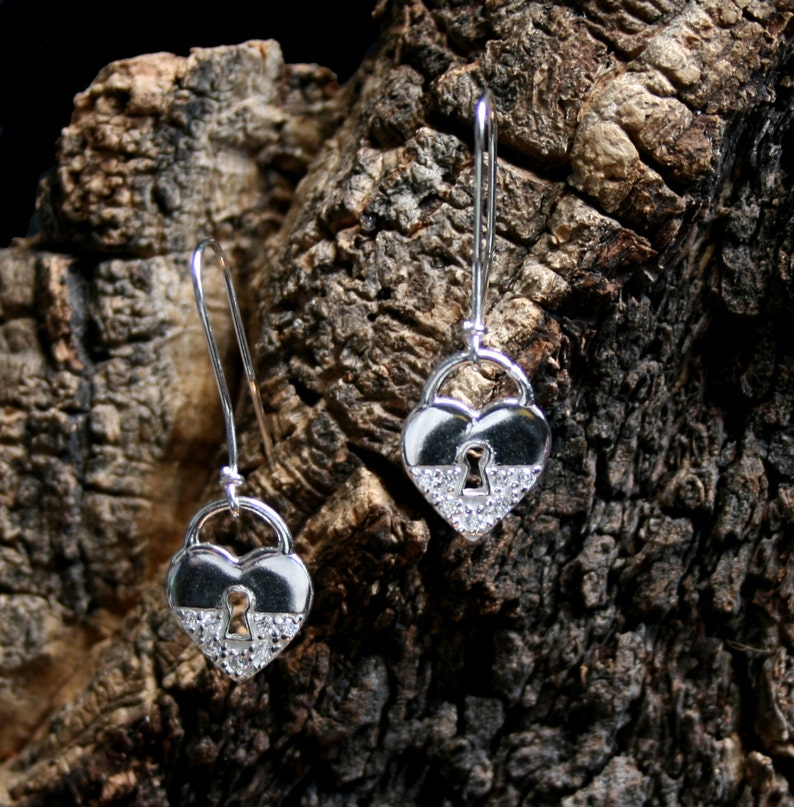 df20003e9 Discrete Slave drop Earrings. CZ Diamante padlock BDSM | Etsy