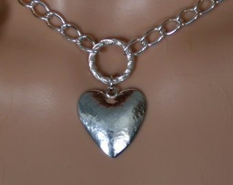 PERMANENTLY LOCKING Fancy O ring Day Collar / Slave Necklace. Sterling silver. Story of 'O' collar. Give her your Heart! Can be personalized