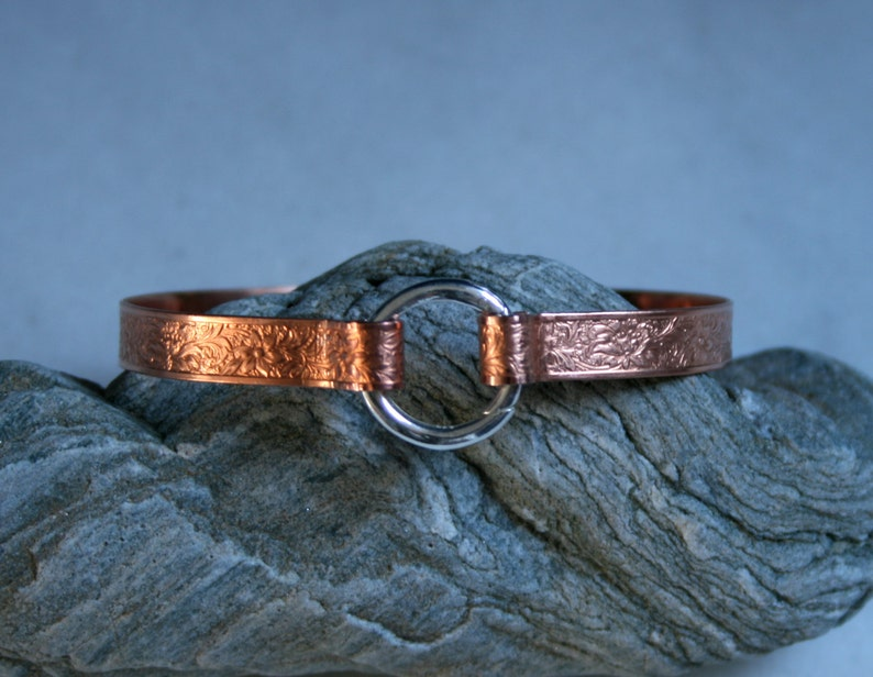 Copper BDSM cuff bracelet. Patterned copper band  with image 0