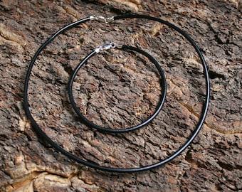 Thick 3mm Black leather bracelet for big hole lampwork beads. Sterling silver fittings. Choose length. Strong Bracelet. Charm bead bracelet.