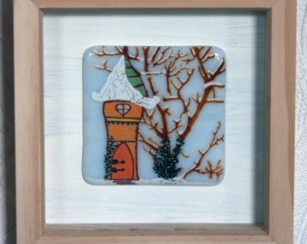 """Fae Cottage - Framed Kiln Fused art glass painting. Fairy House in the woods. Natural wood frame. Glass wall art. 19 x 19cm (7.5 x 7.5"""")"""