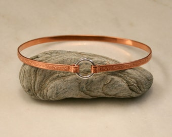 Copper BDSM collar. Choker style. Patterned copper band with a Sterling Silver captive 'O' ring closure. Choose pattern. Can be engraved :-)