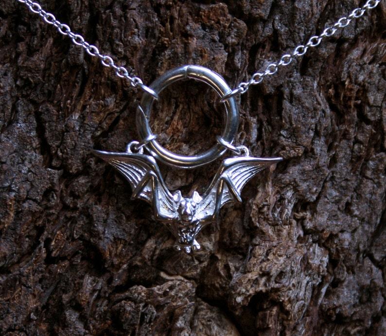 Gothic Bat  Discrete O ring Day Collar / Slave Necklace. image 0
