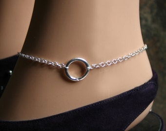 Discrete 'O' ring Slave Ankle Chain Bracelet. BDSM Anklet. Sterling silver. Infinity ring. Eternity ring. Story of 'O' ring. Captive ring.