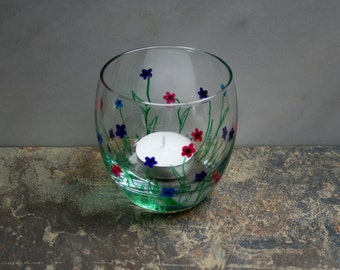 Flower Garden. An exclusive design hand painted T light holder. Purple/Pink/Blue - choose color(s). Custom options/personalization available