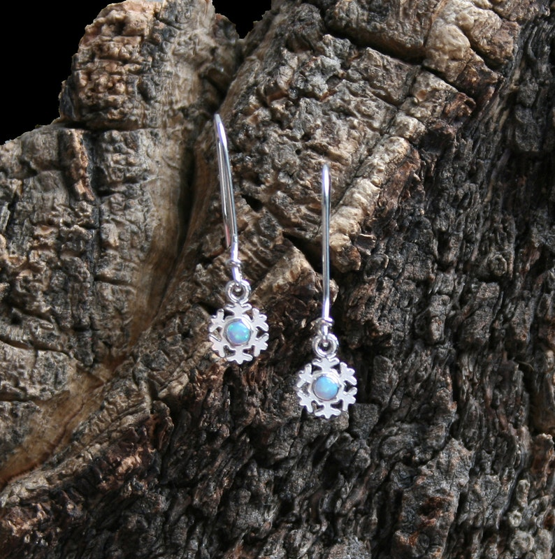 Winter snow  Snowflake drop earrings in Sterling Silver. image 1