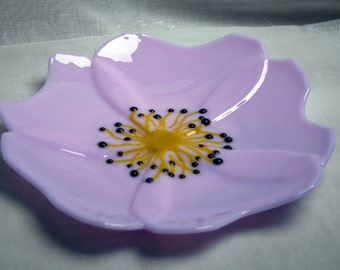 Rosa Canina - The Wild Rose. Wildflower series. An exclusive, fused glass, wild rose shaped bowl in pale pink with yellow and brown stamens.
