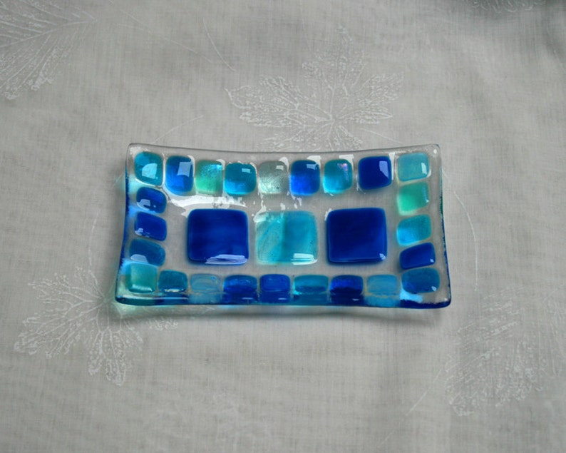 Summer Seas D2 mosaic series fused glass soap / trinket / image 0