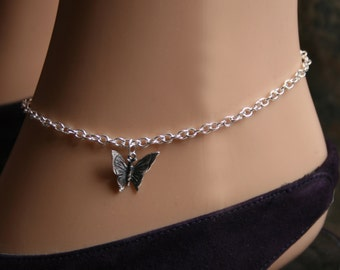 Butterfly Slave Ankle Chain Bracelet. BDSM Anklet. Sterling silver. Butterfly ankle chain.