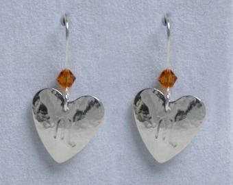 Handmade 'Birthday' earrings. November, Topaz, Birthstone, Birth sign, Zodiac, Scorpio. Sterling silver & Swarovski crystal heart earrings