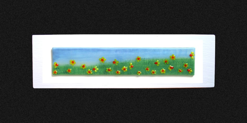 13.5x4 set on a white frame Fused glass painting /'Springtime/' Hand painted Daffodil field with raised fused glass flowers 34x10cm