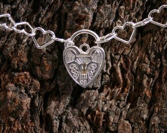 Sterling silver Slave bracelet BDSM bracelet. Choose plain or Fancy padlock. Heart shape chain links with a heart shape padlock.