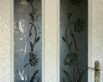 Original design 'Daisy' Acid etched glass door panels. Matching pair for panelled doors. Clear design on exclusive 'mottled' background