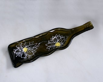 Decorative 3 candle plate 'Daisy' ~ Hand painted, Eco-friendly, recycled melted wine bottle. Condiment / dip / serving dish. Slumped bottle.