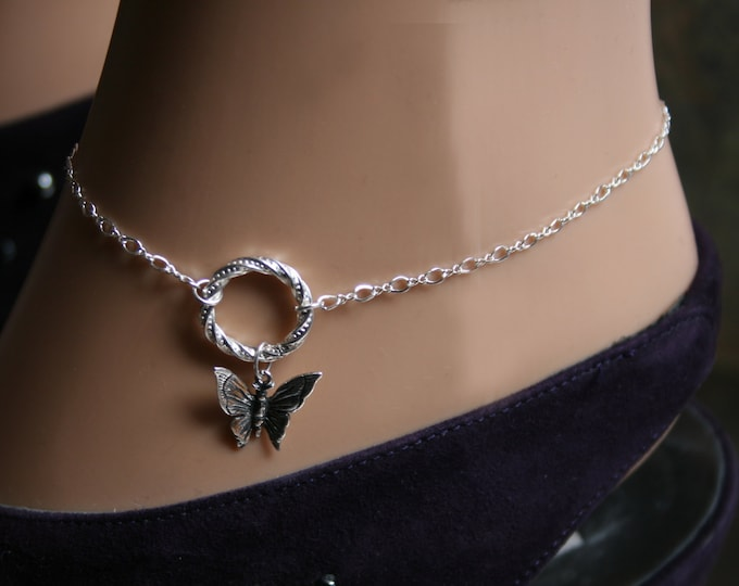 PERMANENTLY LOCKING Butterfly Fancy 'O' ring Slave Ankle Infinity Chain Bracelet / Sterling BDSM Anklet. Infinity / Eternity / Captive ring.