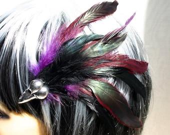 Exclusive 'Purple Raven' hair grip/ fascinator.