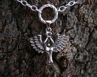 Bound Angel Discrete PERMANENTLY LOCKING Fancy O ring Day Collar/Slave Necklace. Sterling silver Captive fallen angel collar/choker/necklace