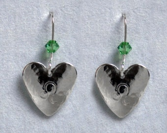 Handmade 'Birthday' earrings. August, Peridot, Birthstone, Birth sign, Zodiac, Leo. Sterling silver & Swarovski crystal heart earrings