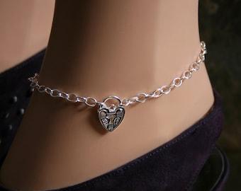 Discrete PERMANENTLY LOCKING Padlock Slave Ankle Chain Bracelet. Plain or fancy padlock BDSM Anklet. Sterling silver. Choose padlock design.