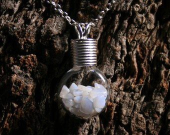 Healing Wishes  - Blue Lace Agate ~ 'Make a Wish' Pendant ~ Hand blown glass & sterling silver pendant with Blue Lace Agate. Wishing bottle