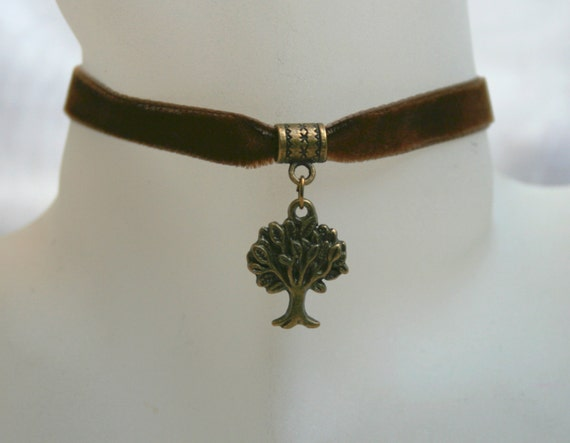 1487ac1aae758 Handcrafted 'Tree of Life' Choker. Steampunk. Bronze tone Tree of Life set  on a Wine, Black, Green, Purple, Brown, White or Ivory ribbon.