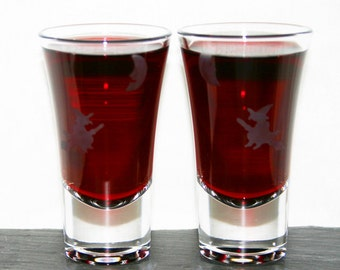 Witch Moon Shot - Pair of hand etched shot glasses featuring a witch in flight under a crescent moon.