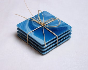 Fused glass coasters. 'Caribbean Seas' A set of 4 swirly coasters, made in stunning swirls of blue and turquoise.
