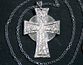 Traditionally Handmade Large 925 Silver Celtic Cross Pendant. Antiqued, etched, hammered & set on a sterling silver belcher chain Hallmarked
