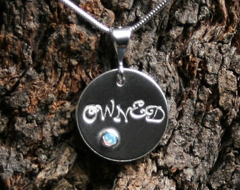 OWNED ~ Personalized PERMANENTLY LOCKING Disc Day Collar / Slave Necklace. Sterling silver. Choose gemstone. Can be personalized on reverse.