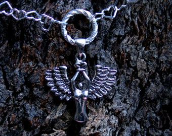 Bound Angel Fancy O ring Permanently Locking Sterling silver Heart chain Day Collar/Slave Necklace Eternity/Infinity ring. Captive/fallen.