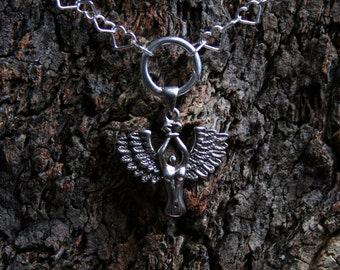 Bound Angel Discrete Permanently Locking O ring Sterling silver Heart chain Day Collar/Slave Necklace Eternity/Infinity ring. Captive/fallen