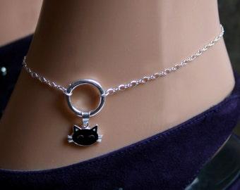 Sir's Kitten. Black Cat 'O' ring Slave Ankle Infinity Chain Bracelet Sterling silver BDSM Anklet. Infinity / Eternity / Captive ring.