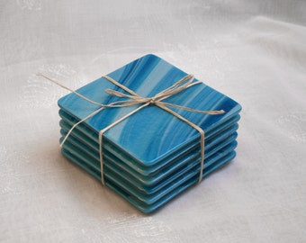 Fused glass coasters. 'Caribbean Seas' A set of 6 swirly coasters, made in stunning swirls of blue and turquoise.