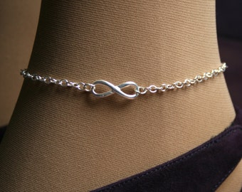 Infinity. PERMANENTLY LOCKING Slave Ankle Chain Bracelet. BDSM Anklet. Sterling silver. Infinity link. Choose small or large infinity symbol
