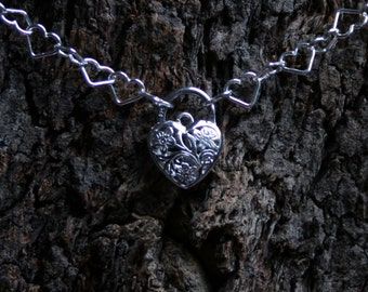 Discrete Fancy Filigree floral Padlock Sterling silver Day Collar / Slave Necklace. Fancy Heart link chain BDSM choker.