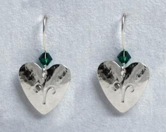 Handmade 'Birthday' earrings. May, Emerald, Birthstone, Birth sign, Zodiac, Aries. Sterling silver & Swarovski crystal heart earrings