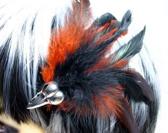 Exclusive 'Burnt Orange Raven' hair grip/ fascinator.
